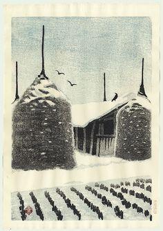 Masaharu Aoyama (1893 - 1969)  Woodblock Print  Hay Stacks