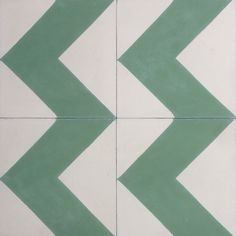 Colours used: 46 Light Grey -09 Forest GreenThis handsome line of Cement Tiles from Terrazzo Tiles are handmade in Morocco using hydraulic presses in a traditional method. We have a large collection of molds, including Floral patterns, Geometric and 3D Cubes, as well as Moorish and Victorian designs. These are a gorgeous Chevron in green and off white.