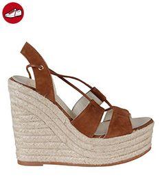 Angkorly Damen Schuhe Sandalen Mule - Plateauschuhe - Linien - Spitze - String Tanga Keilabsatz High Heel 8 cm - Beige YS430 T 40 SFpPVf