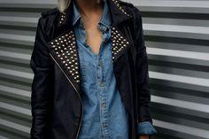 denim + studded black leather jacket