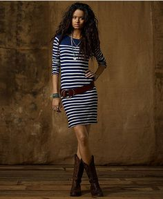 striped dress with belt and boots. cute