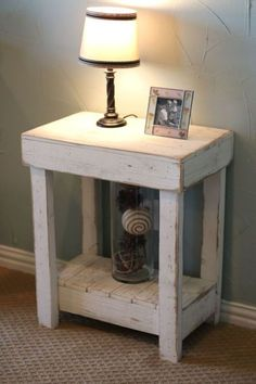 White Rustic End Table