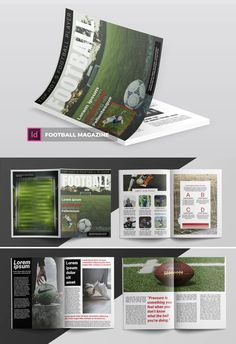 Football Magazine Template InDesign INDD - 20 Pages Magazin Design, Sports Flyer, Cool Magazine, Magazine Template, Lorem Ipsum, Football, Templates, Journals, Soccer