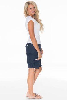 Women's Modest Nylon Cargo Shorts in Navy