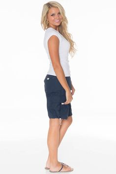 Women's Modest Nylon Cargo Shorts in Navy