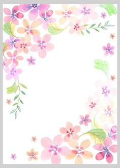 Floral Watercolour Loose Style 1 - By: Victoria Nelson Borders For Paper, Borders And Frames, Flower Frame, Flower Art, Love Wallpaper, Iphone Wallpaper, Paper Background, Background Pictures, Printable Border