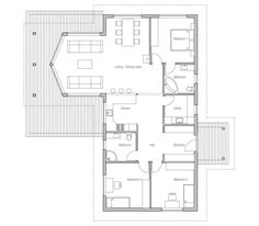 Small House Plan with double garage, three bedrooms. Floor Plan ...