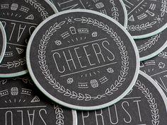 Round coasters. Typographic. Brand implementation.