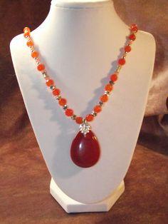 Red Jasper Pendant Orange Jade Necklace by BlackBearsBazaar, $42.00