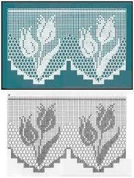 Afbeeldingsresultaat voor cortinas tejidas a crochet Filet Crochet Charts, Crochet Borders, Crochet Diagram, Crochet Motif, Crochet Designs, Crochet Doilies, Crochet Flowers, Crochet Curtain Pattern, Crochet Curtains