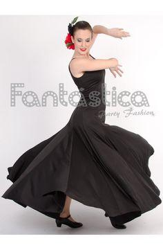 Vestido de Flamenca / Sevillana para Mujer Color Negro Liso - Tienda Esfantastica
