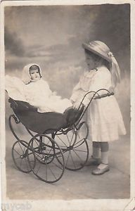 With Doll Carriage — Vintage Children Photos, Vintage Pictures, Vintage Images, Vintage Pram, Vintage Girls, Vintage Toys, Old Dolls, Antique Dolls, Child Doll