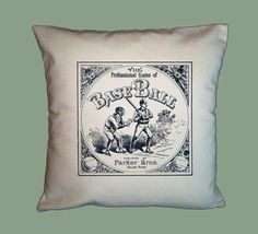 Vintage Baseball Board Game Canvas Pillow Cover  by WhimsyFrills, $20.00