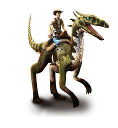 Play for free at DinoStorm.com -- Dino Storm -- Key Artwork 1 --- Cowboys, Dinosaurs, and laser guns!