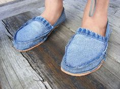 Do night. Recycled Jean Slippers.