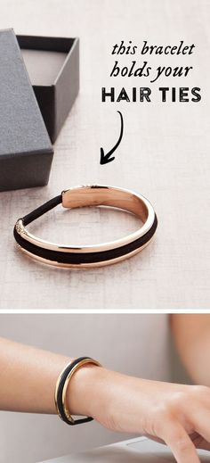 Do you wear hair ties on your wrist? This stylish bracelet doubles as a hair tie holder that keeps your wrist indent-free! Available in silver, gold, or rose gold, this stainless steel bangle is sure to become your favorite and most useful accessory. Carry a hair elastic on your wrist in a way that's elegant and versatile whether you are heading to work, dressing up, or working out! Get your Bittersweet hair tie bracelet by Maria Shireen.