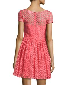 Short-Sleeve Embroidered Tulle Dress