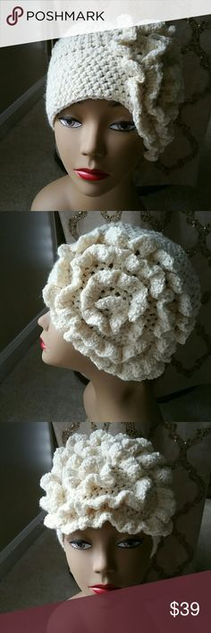 NWOT HANDMADE FLORAL CROCHET HAT I ACCEPT OFFERS! I NEVER DECLINE OFFERS! I ACCEPT OR COUNTER ONLY!  TEMPORARY HOLIDAY PRICE DROP!  Unique Hat design for the Bold and Trendy Modern Women.  You can style it multiple ways. Cream yarn with gold metallic threading. Bella Vintage Boutique  Accessories Hats