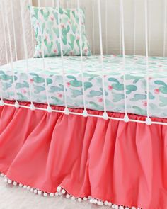 Set: Pillow, Sheet, and Skirt Watercolor Cactus Blossoms crib bedding set for girls is a colorful girly take on the modern cactus trend. Girl Crib Bedding Sets, Crib Sets, Cot Bedding, Toddler Bedding Girl, Crib Bed Skirt, Trends, Modern, Cactus Blossoms, Watercolor Cactus