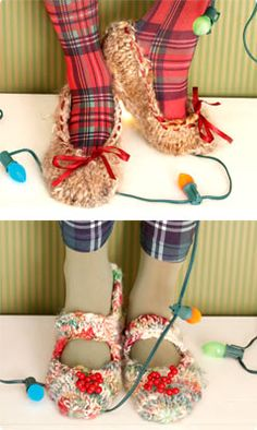 Knit Slippers - Free pattern from Vogue Knitting