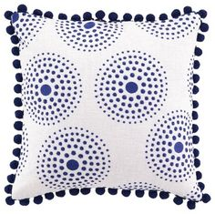 Antonia Blue Pom-Pom Embroidered Pillow eclectic-pillows