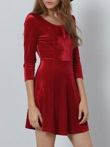DESCRIPTION Season :Fall Pattern Type :Plain Sleeve Length :Three Quarter Length Sleeve Color :Red Dresses Length :Short Style :Occasion Material :Suede Neckline :Round Neck Silhouette :A Line Shoulde