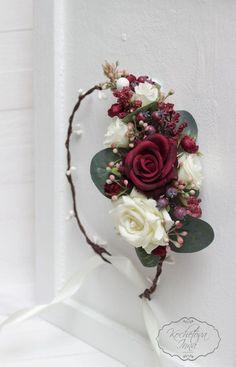 Burgundy ivory flower crown Boho flower crown by ByKochetova