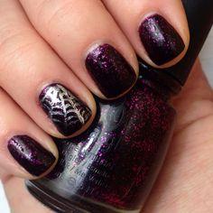 Halloween nails art. Nail art. Spiderweb nails. China glaze mummy may I