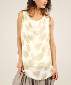 Look what I found on #zulily! Beige Miranda Silk Sleeveless Top by Chic Dressing #zulilyfinds
