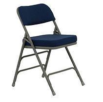 Hercules 2 1/2u201d Padded Metal Folding Chairs, Navy