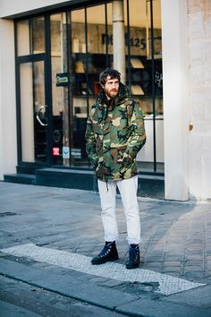 Street style Fashion Week homme automne hiver 2017 2018 paris
