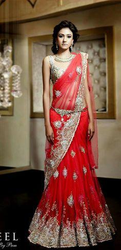 Indian bridal lehenga's by some of India's best fashion designers. Bridal lehenga for your upcoming Indian wedding. Indian Bridal Wear, Indian Wedding Outfits, Bridal Outfits, Indian Outfits, Bridal Dresses, Chiffon Dresses, Indian Weddings, Lehenga Sari, Bridal Lehenga