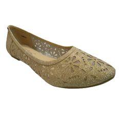 Danni Ballet Slip On Flat Dress Shoes Glitter GOLD WOMEN *** For more information, visit image link.