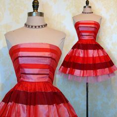 Very Fun and Flirty Red Silk & Tulle Cocktail Dress Bold Eye Catching Horizontal Lines - $125