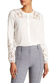 Alma Embroidered Sleeve Silk Blouse