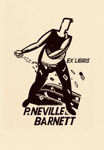Eric Thake bookplate for P Neville Barnett who was Secretary of the Australian Bookplate Society. Eric Thake shows him as a sower, seeding the earth with bookplates. 1932