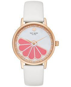 kate spade new york Women's Metro White Leather Strap Watch 34mm KSW1121 - Watches - Jewelry & Watches - Macy's