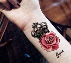Bildergebnis für crown tattoo with rose