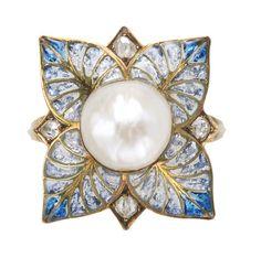 Georges Fouquet Plique-à-Jour Enamel Ring, c.1900, Pearl, diamond, enamel, gold