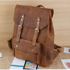 "Large Handmade Antique Leather Backpack / Leather Satchel / Leather Travel Bag / Day Pack / 17"" MacBook 17"" Laptop Bag in Vintage Brown #B01"