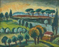 Ernest Zmeták: Talianska krajina:1947 Primates, Facade, Modern Art, Milan, Graphic Design, Illustration, Artist, Painting, Primate