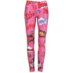 """Pink """"Explosion Font"""" Leggings ($30) ❤ liked on Polyvore"""