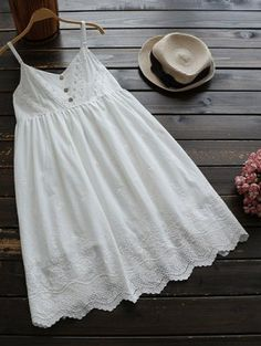 Embroidered Smock Babydoll Dress - White One Size Cute Dresses, Casual Dresses, Dresses With Sleeves, Summer Dresses, Dresses Dresses, Striped Dress, White Dress, White Babydoll Dress, Lace Dress