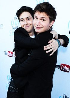 """Ansel Elgort and Nat Wolff being adorable at the """"The Fault in Our Stars"""" Soundtrack Event at the YouTube Space LA (May 142014)."""