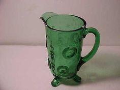 "EAPG INDIANA TUMBLER & GOBLET (Greentown Glass)  Green Ruffled Eye pattern 8 1/2"" Pitcher 1897-1900 HTF"