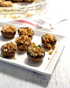 These one bite mushrooms are a great starter to pass around. Super easy and fast to prepare (10 min), plus you can prepare ahead.