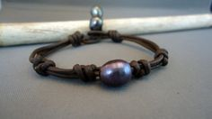 Black Pearl leather Knotted Bracelet by iseadesigns on Etsy, $26.00