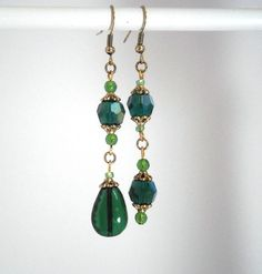 Boho romantic asymetrical earrings emerald green by kalaniparis