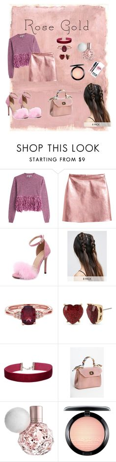 """rosegold01"" by ferrafau ❤ liked on Polyvore featuring Rothko, McQ by Alexander McQueen, ASOS, Betsey Johnson, Miss Selfridge, Kylie Cosmetics and MAC Cosmetics"