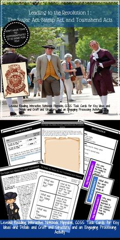 Leading to the Revolution Sugar Act, Stamp Act, and Townshend Acts Leveled Reading and Interactive Notebook Activity 4th Grade Social Studies, Teaching Social Studies, Teaching Tools, Study History, Colonial America, Reading Levels, American Revolution, Interactive Notebooks, Have Time